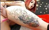 Hot Tattoed Redhead Webcam Girl Fingering Ass